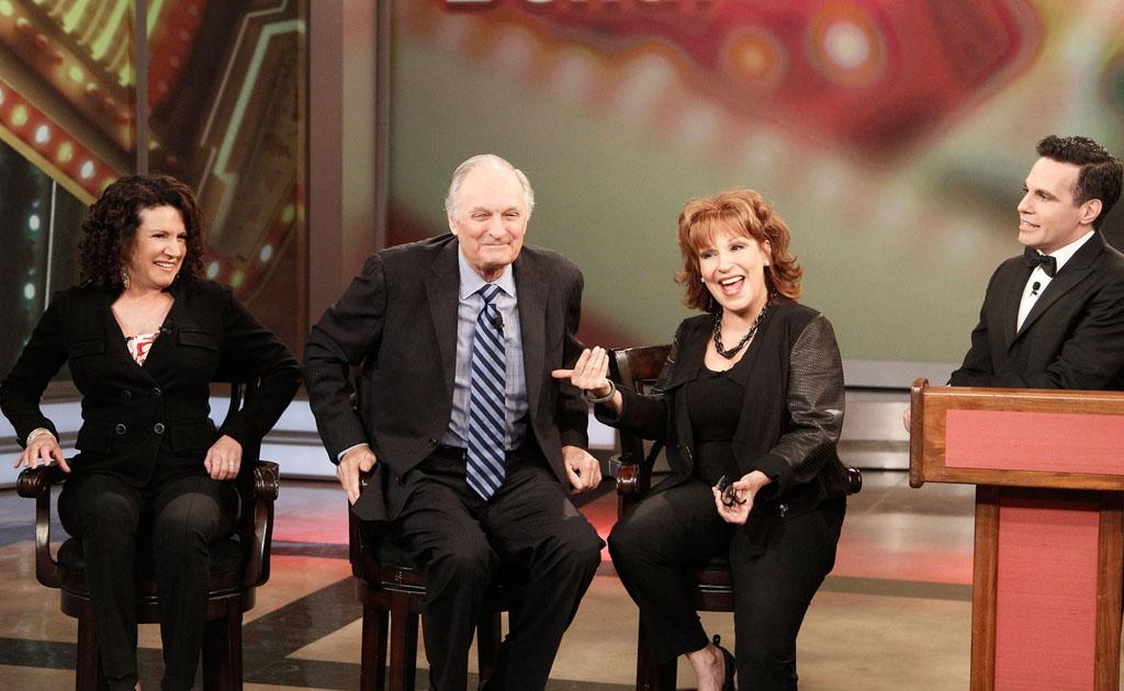 "Susie Essman, Alan Alda, Joy Behar, and Mario Cantone on Joy's final episode as co-host of ABC's ""The View"" on Friday, August 9, 2013."