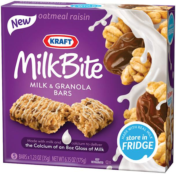 This product photo provided by Kraft Foods Inc., shows a box of oatmeal raisin Kraft MilkBite, milk and granola bars. On-the-go Americans are increasingly consuming their morning calories over several hours instead of sitting down to devour a plate of pancakes, bacon and eggs in one sitting. (AP Photo/Kraft Foods Inc.)