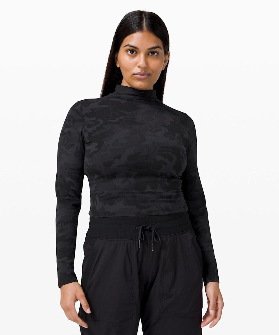 """<h3>All Aligned Mock Neck Long Sleeve</h3><br>Another loungeworthy fave that you'll be reaching for again and again: This slightly cropped mock neck top that will replace all your other turtleneck base layers.<br><br><strong>What They're Saying:</strong> """"This top is super soft, and the length is so flattering. I bought two colors and now buying two more — I never want to take this off! I love that I can pair this with anything. The mock neck is not restrictive at all for those who might not like things near their neck. I think it's because the material is so thin and soft.""""<br><br><strong>lululemon</strong> All Aligned Mock Neck Long Sleeve, $, available at <a href=""""https://go.skimresources.com/?id=30283X879131&url=https%3A%2F%2Fshop.lululemon.com%2Fp%2Ftops-long-sleeve%2FAll-Aligned-Mock-Neck-Long-Sleeve%2F_%2Fprod9960613%3Fcolor%3D0001"""" rel=""""nofollow noopener"""" target=""""_blank"""" data-ylk=""""slk:lululemon"""" class=""""link rapid-noclick-resp"""">lululemon</a>"""