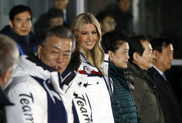 <p>Ivanka Trump, center, daughter of U.S. President Donald Trump, stands at the beginning of the closing ceremony of the 2018 Winter Olympics in Pyeongchang, South Korea, Sunday, Feb. 25, 2018. (AP Photo/Patrick Semansky, Pool) </p>