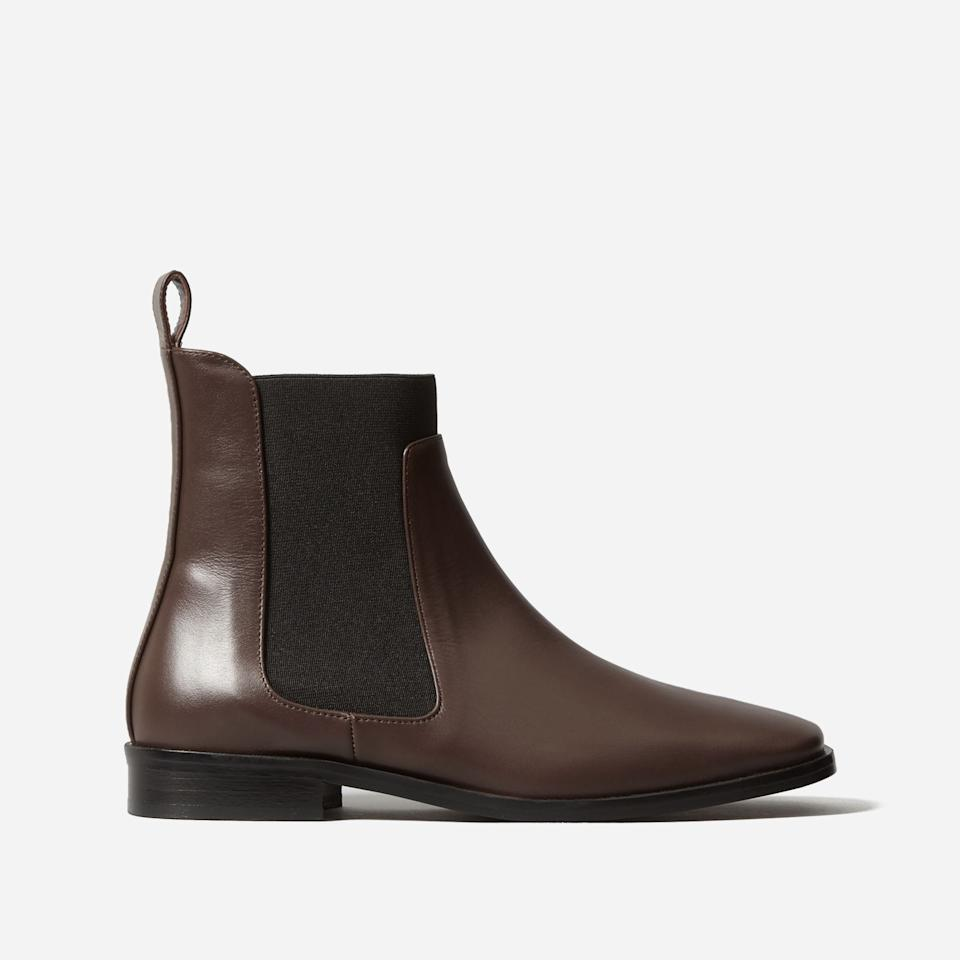 """<h3><a href=""""https://www.everlane.com/products/womens-square-toe-chelsea-boot-chocolate?collection=womens-boots"""" rel=""""nofollow noopener"""" target=""""_blank"""" data-ylk=""""slk:The Square Toe Chelsea Boot"""" class=""""link rapid-noclick-resp"""">The Square Toe Chelsea Boot<br></a></h3><br>The glossy chocolate brown hue on the brand's square-toed Chelsea style will fool anyone into thinking that these were an expertly-hunted vintage find. <br><br><strong>Everlane</strong> The Square Toe Chelsea Boot, $, available at <a href=""""https://go.skimresources.com/?id=30283X879131&url=https%3A%2F%2Fwww.everlane.com%2Fproducts%2Fwomens-square-toe-chelsea-boot-chocolate%3Fcollection%3Dwomens-boots"""" rel=""""nofollow noopener"""" target=""""_blank"""" data-ylk=""""slk:Everlane"""" class=""""link rapid-noclick-resp"""">Everlane</a>"""