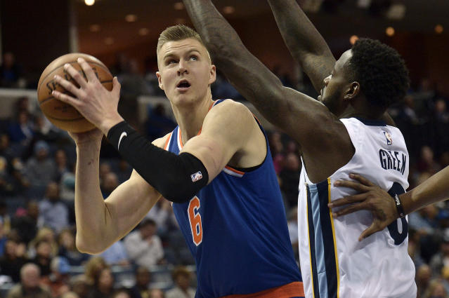 "<a class=""link rapid-noclick-resp"" href=""/nba/players/5464/"" data-ylk=""slk:Kristaps Porzingis"">Kristaps Porzingis</a> lost out on a starting bid to <a class=""link rapid-noclick-resp"" href=""/nba/players/5294/"" data-ylk=""slk:Joel Embiid"">Joel Embiid</a> and it seems to have gotten to him. (AP Photo/Brandon Dill)"