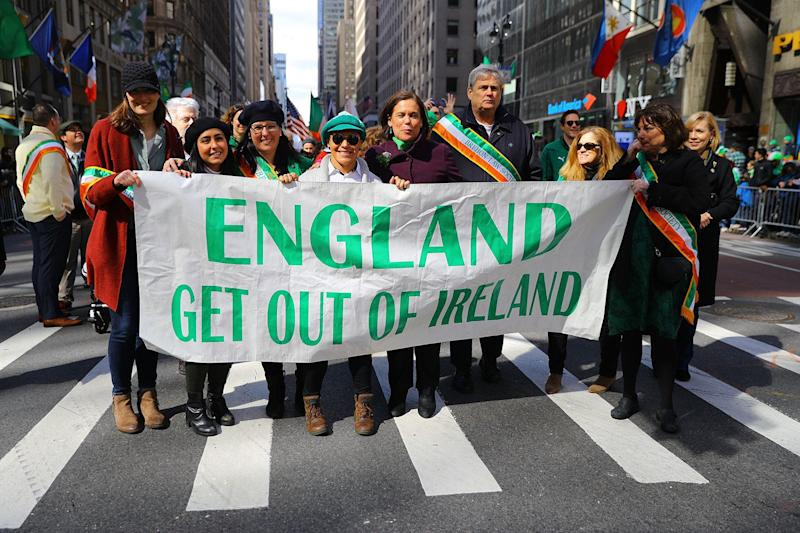 "A banner reading ""England get out of Ireland"" has been carried in the parade since the 1940s. (Photo: Gordon Donovan/Yahoo News)"