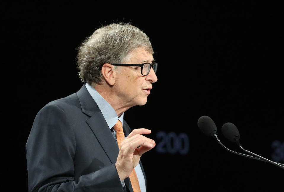 <p>Bill Gates gestures as he speaks to the audience during the Global Fund to Fight AIDS event at the Lyon's congress hall, central France, Thursday, Oct. 10, 2019. French President Emmanuel Macron said the conference of the Global Fund to fight against AIDS, tuberculosis and malaria raised at least $13.92 billion for the next three years. (Ludovic Marin/Pool Photo via AP)</p>