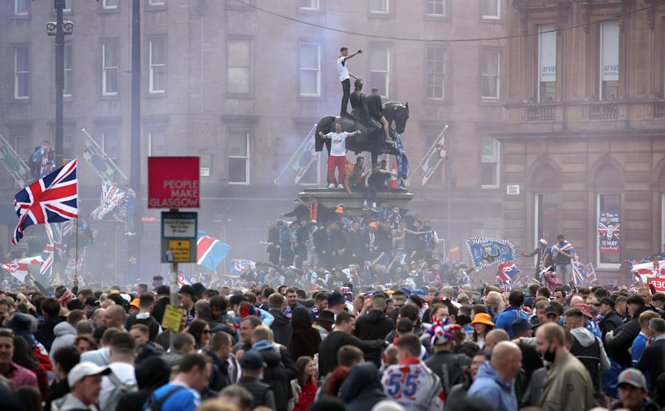 <p>Thousands or Rangers fans crowded into George Square last Saturday </p> (PA)