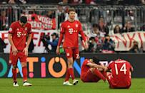 Bayern Munich's players react after their UEFA Champions League semi-final, 2nd leg match against Atletico Madrid, in Munich, on May 3, 2016 (AFP Photo/Lukas Barth)