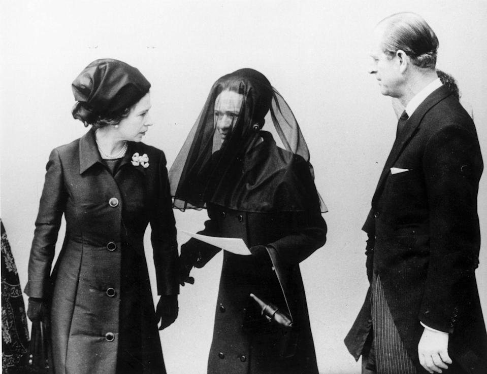 <p>Wallis Simpson and Queen Elizabeth attend the funeral of the Duke of Windsor, their respective husband and uncle, in 1972.</p>