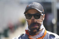 James Hinchcliffe, of Canada, walks down pit lane during qualifications for the Indianapolis 500 auto race at Indianapolis Motor Speedway, Saturday, Aug. 15, 2020, in Indianapolis. (AP Photo/Darron Cummings)