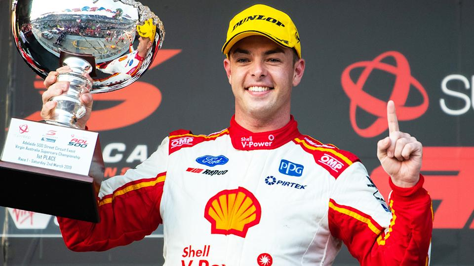 Scott McLaughlin, pictured here after winning the Adelaide 500 in 2019.