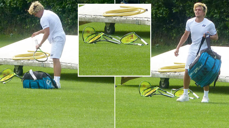Akira Santillan destroyed five racquets after a loss in Wimbledon qualifying. Images: Ricky Damon/Twitter