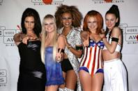 <p>Dressing as the British pop group Spice Girls is a tried-and-true costume idea for groups of five, and the style of clothing is pretty much spelled out in the nicknames of the members: Scary (animal prints), Sporty (tear-away pants), Baby (pink dress), Ginger (Union Jack dress), and Posh (negligee).</p>