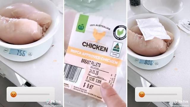 A TikTok user found his Woolworths chicken to be underweight, until he added the soak pad to the scales.