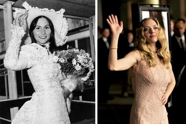 "(FILE PHOTO) In this composite image a comparison has been made between Amanda Seyfried (L) and actress Linda Lovelace. Amanda Seyfried will reportedly play Linda Lovelace in a film biopic entitled 'Lovelace.' ***LEFT IMAGE*** 1974:  American pornographic actress Linda Lovelace (1949 - 2002) arriving at London Airport (now Heathrow) on May 28, 1974. She is wearing a lace dress and matching hat. (Photo by Evening Standard/Hulton Archive/Getty Images) ***RIGHT IMAGE*** LOS ANGELES, CA - FEBRUARY 21:  Actress Amanda Seyfried arrives at the premiere of Summit Entertainment's ""Gone"" at the Arclight Theater on February 21, 2012 in Los Angeles, California.  (Photo by Kevin Winter/Getty Images)"