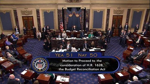 Vice President Mike Pencecast the deciding voteon the Senate floor Tuesday on a measure to start debate on dismantlingmuch of Obamacare. (Photo: C-SPAN2 via AP)