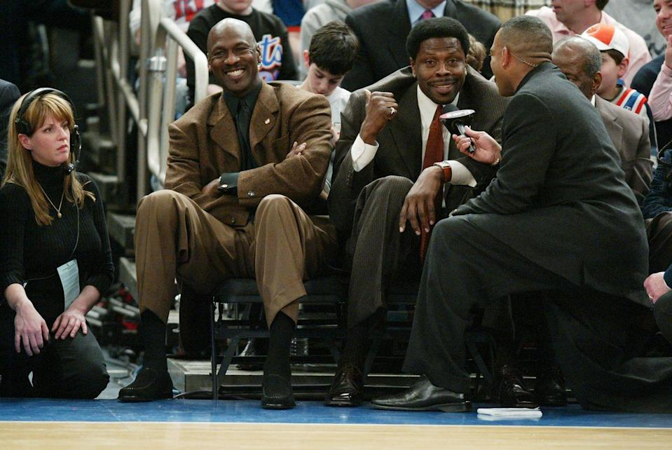 <p>Jordan was <em>still</em> menacing defenses at 40 while playing his final season in the NBA for the Washington Wizards, where he averaged 20 points a game and made the All-Star team. (In this picture he's sitting court side with Patrick Ewing during a Knicks-Magic game, when Ewing's jersey was retired.)</p>