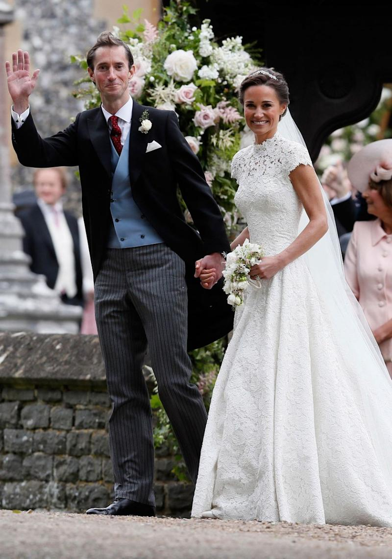 James and Pippa couldn't wipe the smiles off their faces. Source: Getty