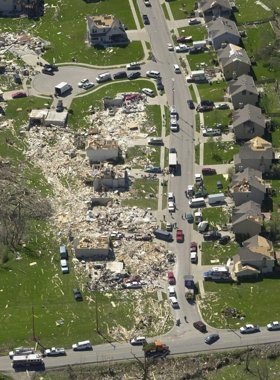 A neighborhood near 65th Street and North Brighton Avenue in Gladstone was hard hit by Sunday's tornado on May 4, 2003.