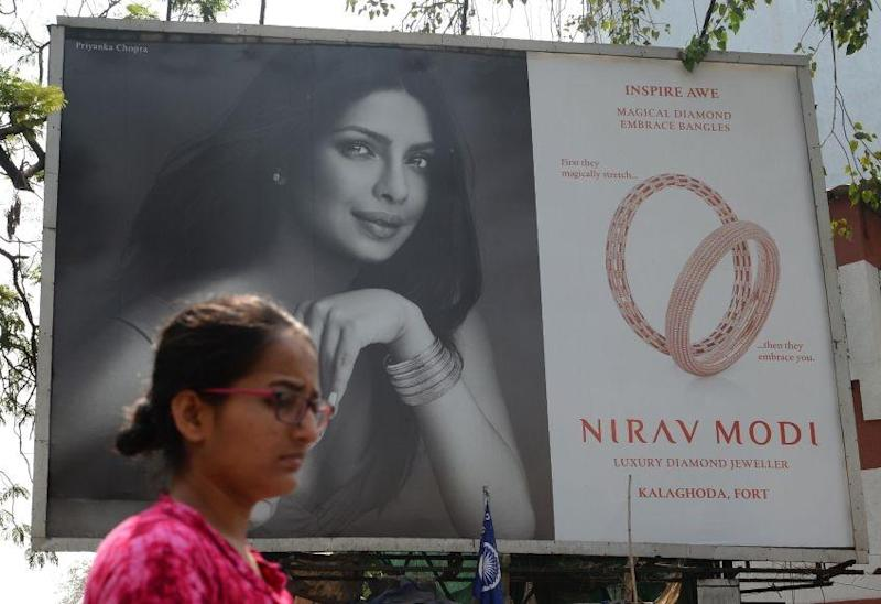 A billboard featuring actress Priyanka Chopra promoting Nirav Modi jewellery is pictured in Mumbai: AFP/Getty Images