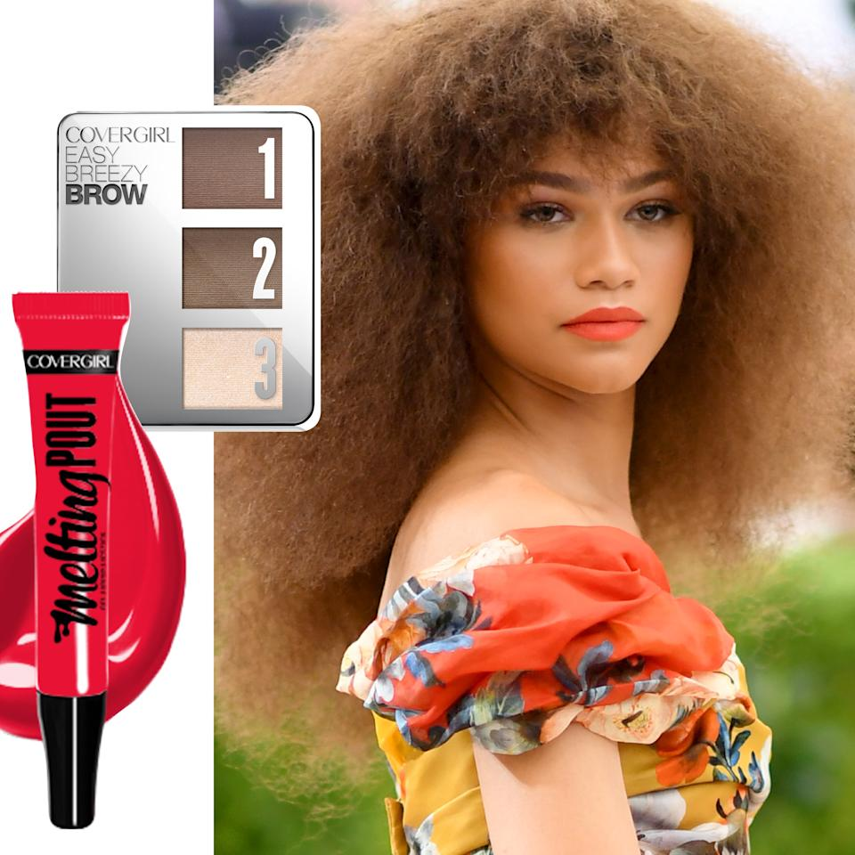"""<p>Zendaya! While we were half hoping the star would pull an AMAs and do her own makeup, we're not mad at this look from makeup artist Sheika Daley. """"Not mad at"""" = """"sighing while we gaze lovingly at"""" to be clear. The woman's a champion for inclusion in all things, and last night that meant <a rel=""""nofollow"""" href=""""https://www.covergirl.com/beauty-products/eye-makeup/eyebrow-makeup/easy-breezy-brow-powder-kit?mbid=synd_yahoobeauty"""">CoverGirl's Easy Breezy Brow Powder Kit in Rich Brown</a> ($10.49) and the brand's <a rel=""""nofollow"""" href=""""https://www.covergirl.com/beauty-products/lip-makeup/lipstick/melting-pout-liquid-lipstick?mbid=synd_yahoobeauty"""">Melting Pout Liquid Lipstick in Tan-Gel-O</a> ($7.99). Both will be available in July, making us wish once again that time-travel were a thing.</p>"""