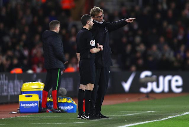 <p>Jurgen Klopp remonstrates with the officials (Getty Images) </p>