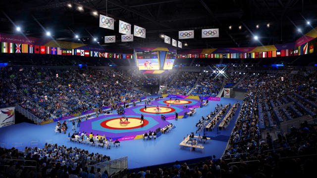<p>Wrestling at Pauley Pavilion. (Photo courtesy of LA2024) </p>
