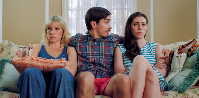 """This film image released by Focus Features shows, from left, Ari Graynor, Justin Long and Lauren Miller in a scene from """"For A Good Time, Call."""" (AP Photo/Focus Features)"""