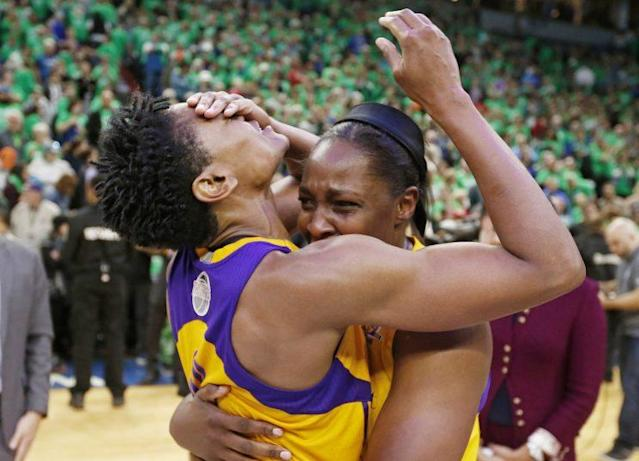 """The <a class=""""link rapid-noclick-resp"""" href=""""/wnba/teams/los/"""" data-ylk=""""slk:Los Angeles Sparks"""">Los Angeles Sparks</a> captured and dramatic and thrilling winner-take-all Game 5. (Associated Press)"""