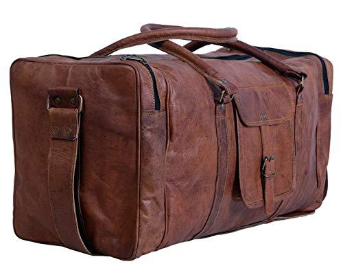 True Grit Leather - Vintage Brown Mens Leather Travel Duffel Overnight Bag Bagages Valise (24 pouces)