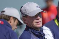 Team USA captain Steve Stricker watches from the third tee during a four-ball match the Ryder Cup at the Whistling Straits Golf Course Friday, Sept. 24, 2021, in Sheboygan, Wis. (AP Photo/Charlie Neibergall)