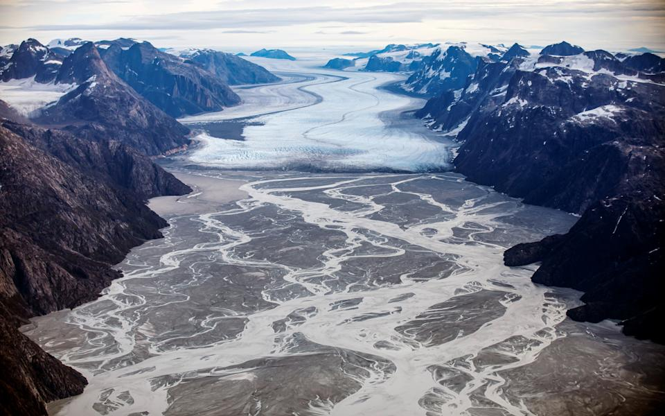 The melting Sermeq glacier, located around 80 km south of Nuuk, is seen, Greenland, September 11, 2021. REUTERS/Hannibal Hanschke     TPX IMAGES OF THE DAY