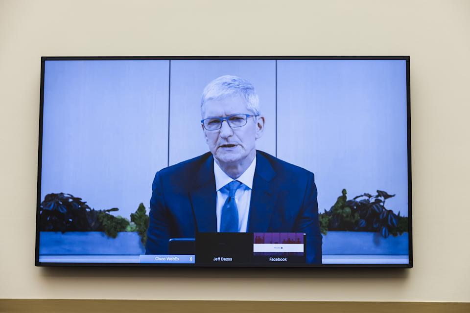 Apple CEO Tim Cook speaks on Capitol Hill, in Washington, Wednesday, July 29, 2020. Photo by GRAEME JENNINGS/POOL/AFP via Getty Images