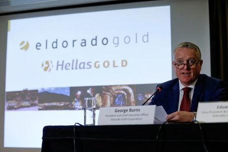 FILE PHOTO: President and Chief Executive Officer of Canadian Eldorado Gold Corporation Burns addresses journalists during a news conference in Athens
