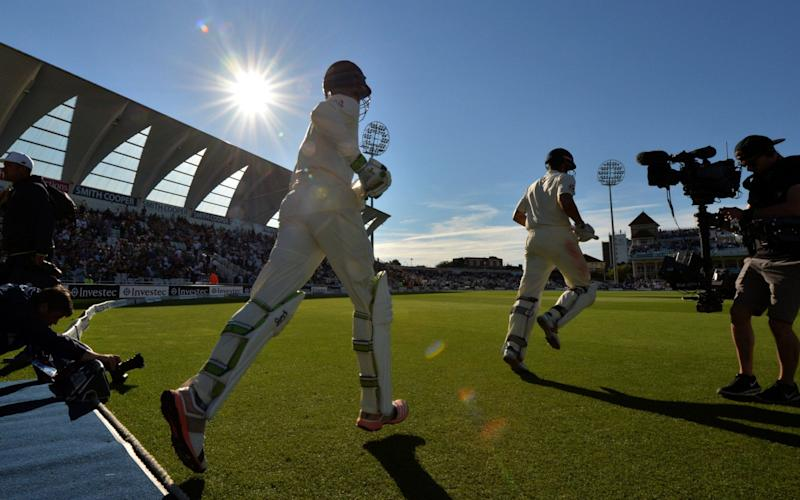Keaton Jennings and Alastair Cook come onto Trent Bridge pitch - Credit: AFP