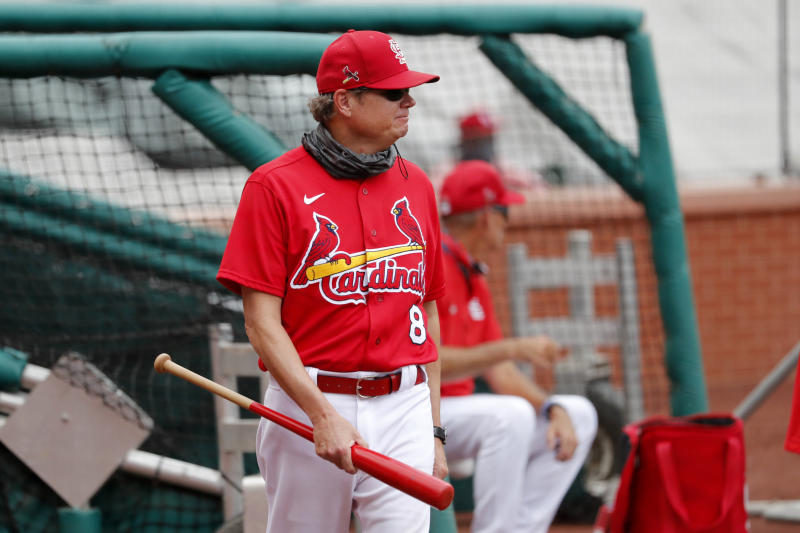 St. Louis Cardinals manager Mike Shildt watches his team during baseball practice at Busch Stadium Friday, July 3, 2020, in St. Louis. (AP Photo/Jeff Roberson)