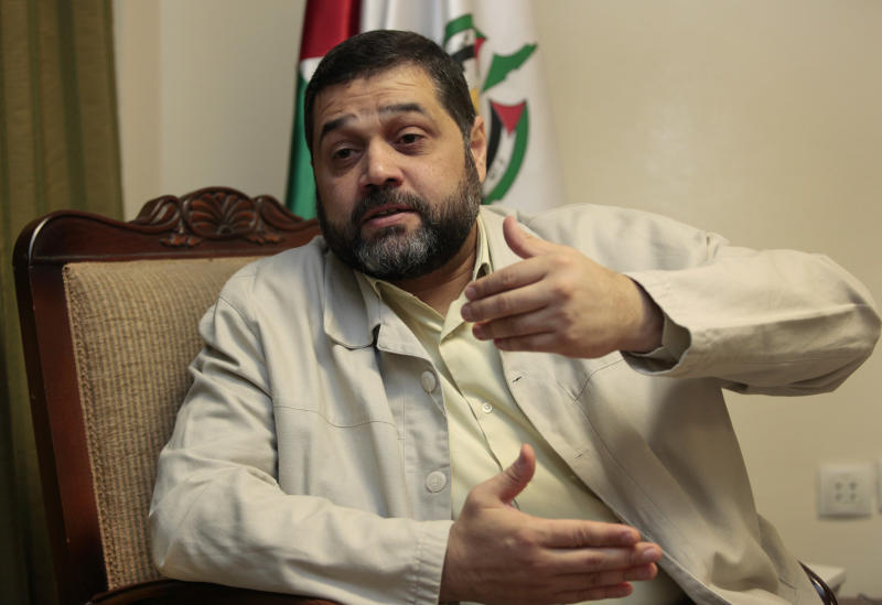 Osama Hamdan, who handles foreign relations for Hamas, speaks during an interview with The Associated Press, in the southern suburb of Beirut, Lebanon, Wednesday May 2, 2012. Hamdan said the Islamic militant group has been holding secret political talks with five European Union member states in recent months. He also said that the talks with European government officials focus on the Hamas positions toward Israel and paralyzed Mideast peace efforts. (AP Photo/Hussein Malla)