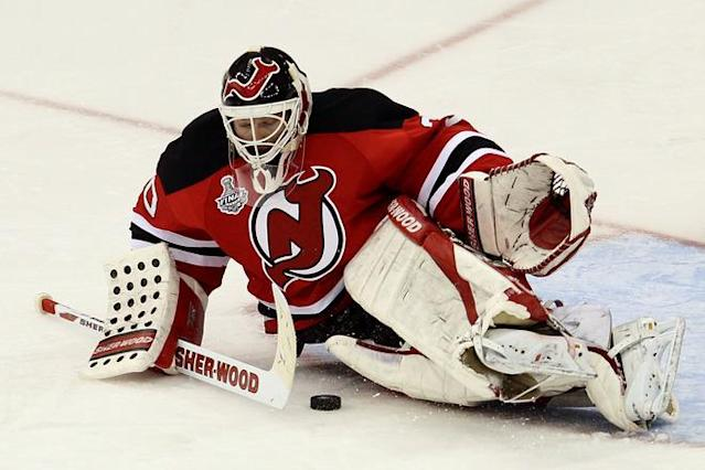NEWARK, NJ - JUNE 09: Martin Brodeur #30 of the New Jersey Devils makes as save against the Los Angeles Kings during Game Five of the 2012 NHL Stanley Cup Final at the Prudential Center on June 9, 2012 in Newark, New Jersey. (Photo by Jim McIsaac/Getty Images)
