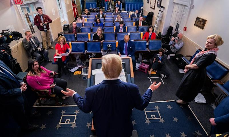 President Trump delivers remarks at a Coronavirus briefing at the White House