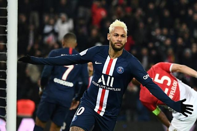Neymar scored twice in the first half but PSG had to settle for a draw against Monaco (AFP Photo/Anne-Christine POUJOULAT)