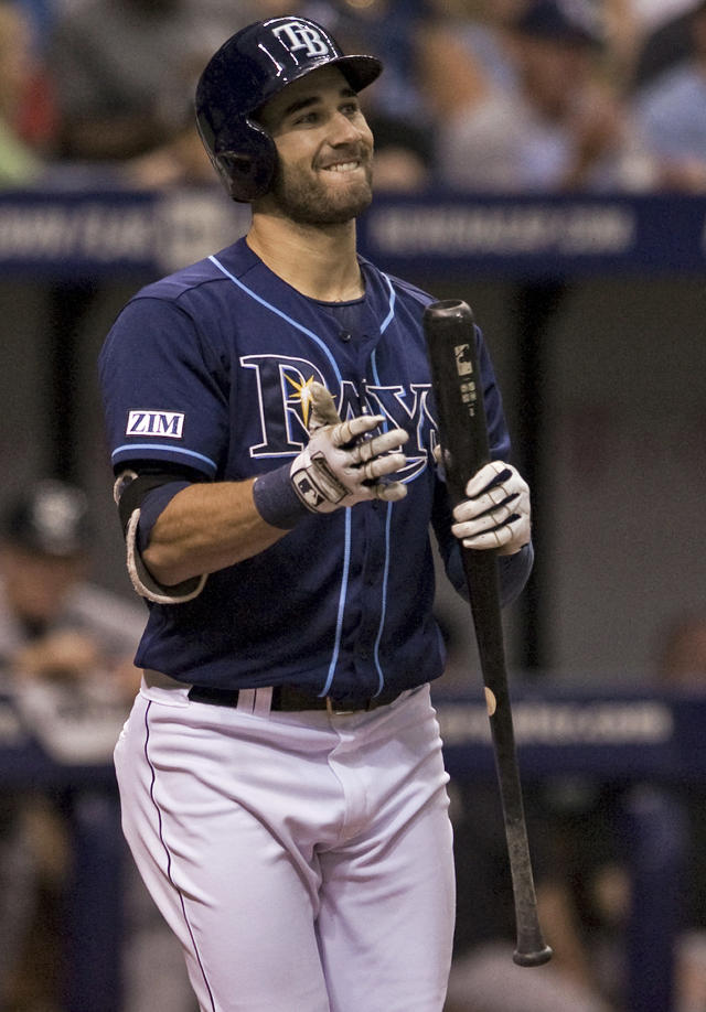 Tampa Bay Rays' Kevin Kiermaier reacts to striking out against New York Yankees starter Shane Greene during the second inning of a baseball game Saturday, Aug. 16, 2014, in St. Petersburg, Fla. (AP Photo/Steve Nesius)