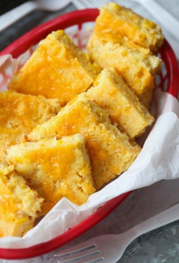"""<p>When is cornbread not the perfect side dish? This cheesy cornbread is great on its own or can be eaten with other pairings.</p> <p><strong>Get the recipe</strong>: <a href=""""http://cookiesandcups.com/creamy-cheesy-cornbread/"""" class=""""link rapid-noclick-resp"""" rel=""""nofollow noopener"""" target=""""_blank"""" data-ylk=""""slk:creamy cheesy cornbread"""">creamy cheesy cornbread</a></p>"""