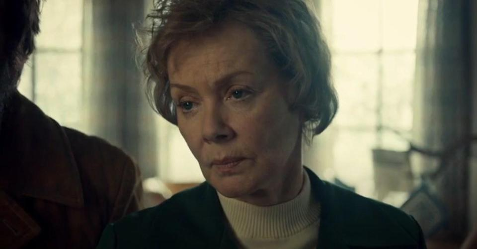 A woman (Jean Smart) wearing an exasperated look staring at something offscreen