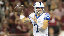 Kentucky quarterback Will Levis attempts to pass in the first half of an NCAA college football game against South Carolina, Saturday, Sept. 25, 2021, at Williams-Brice Stadium in Columbia, S.C. (AP Photo/Hakim Wright Sr.)