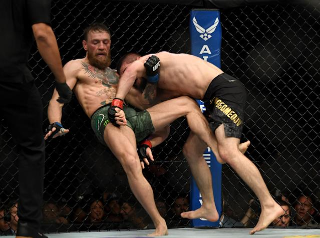 Khabib Nurmagomedov takes down Conor McGregor during UFC 229 on Oct. 6, 2018 at the T-Mobile Arena in Las Vegas. (Hans Gutknecht/Digital First Media/Los Angeles Daily News via Getty Images)