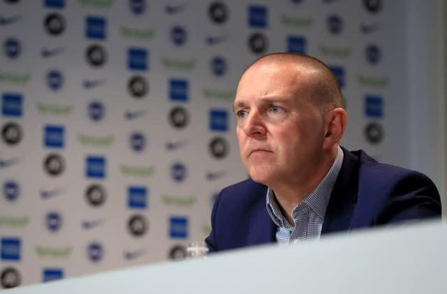 Brighton CEO Paul Barber says the club are yet to consider pay cuts for staff (Gareth Fuller/PA)