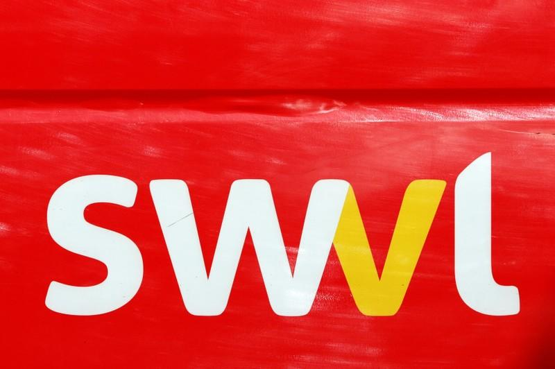 A logo of the Egyptian transport technology start-up Swvl is seen on a vehicle in Islamabad