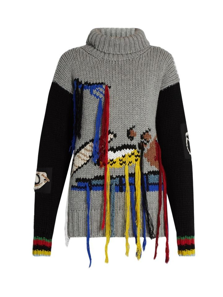 "<p><a href=""http://www.matchesfashion.com/products/Joseph-Fruit-embroidered-wool-sweater-1066655"">Joseph at Matches Fashion</a>, £595</p><p><br /></p>"