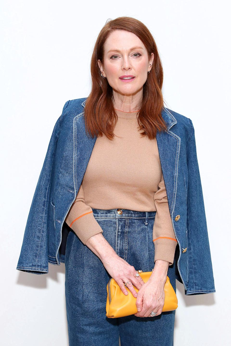 NEW YORK, NEW YORK - FEBRUARY 09: Julianne Moore attends the Tory Burch Fall Winter 2020 Fashion Show at Sotheby's on February 09, 2020 in New York City. (Photo by Cindy Ord/Getty Images for Tory Burch)