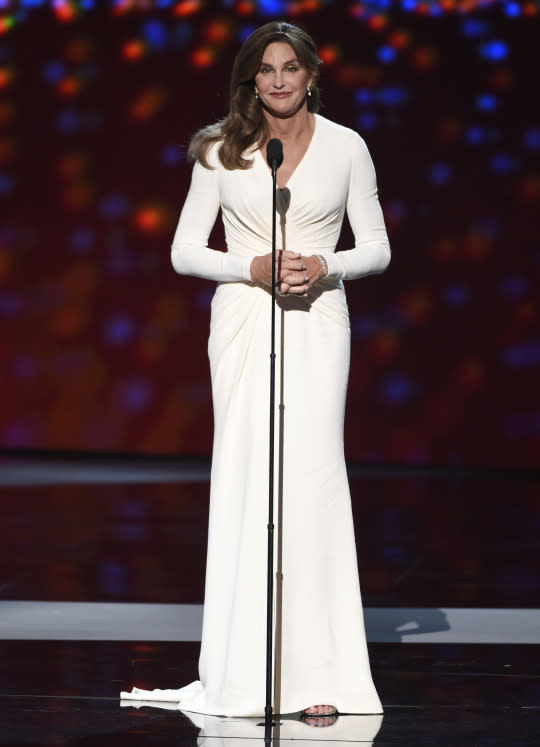 """<p>To accept the Arthur Ashe Courage Award at the ESPY's, Cailtyn Jenner, in her first major appearance since coming out as transgender, looked glamorous in a white Atelier Versace gown. """"Trans people deserve something vital: They deserve your respect,"""" Jenner said.. """"If you want to call me names, make jokes, doubt my intentions, go ahead, because the reality is, I can take it,"""" she said. """"But for the thousands of kids out there, coming to terms with being true to who they are, they shouldn't have to take it.""""</p>"""
