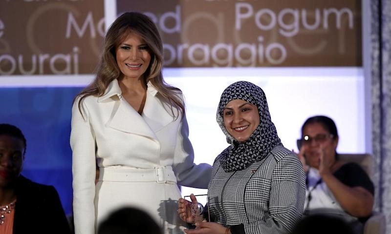 Melania Trump presents the 2017 secretary of state's International Women of Courage award to Fadia Najib-Thabet who is from Yemen.