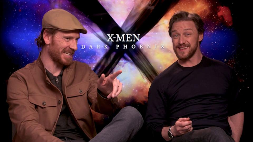 Michael Fassbender and James McAvoy spill the beans on those Dark Phoenix reshoots.